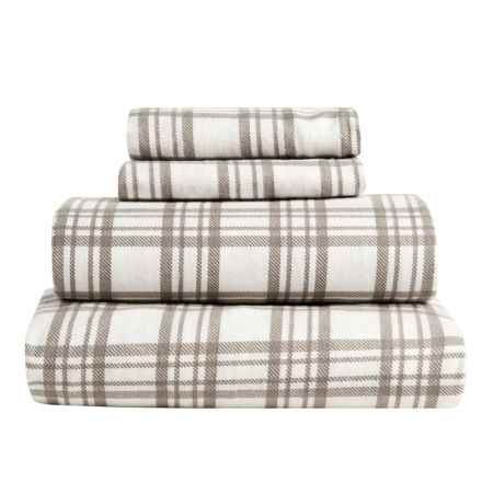 S.L. Home Fashions Julian Plaid Flannel Sheet Set - King in Taupe - Overstock