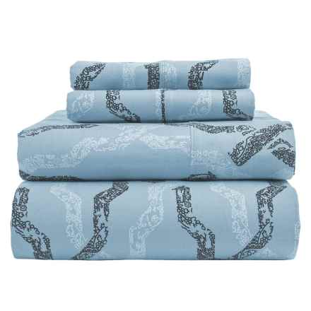 S.L. Home Fashions Rhodes Collection Printed Sheet Set - Full, Cotton in Blue - Closeouts