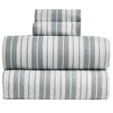 S.L. Home Fashions Vincent Stripe Flannel Sheet Set - Queen in Grey - Overstock