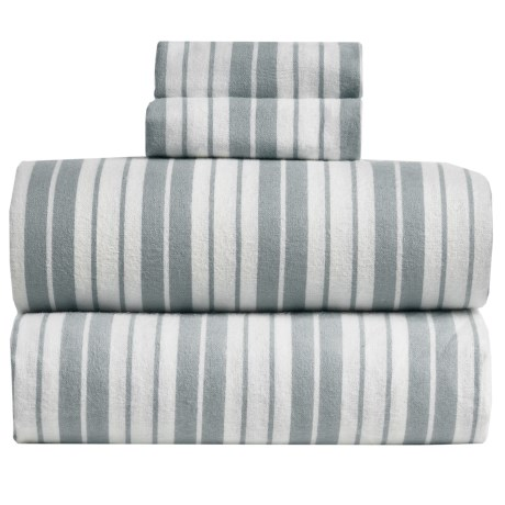 S.L. Home Fashions Vincent Stripe Flannel Sheet Set - Queen in Grey