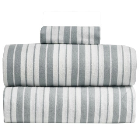 S.L. Home Fashions Vincent Stripe Flannel Sheet Set - Twin in Grey
