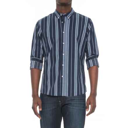 Slate & Stone Asher Print Shirt - Long Sleeve (For Men) in Navy/Grey Verticle Stripe - Overstock