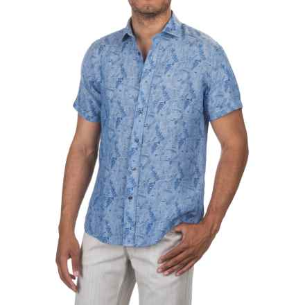 Slate & Stone Bates Linen Shirt - Short Sleeve (For Men) in Blue Floral Print - Closeouts