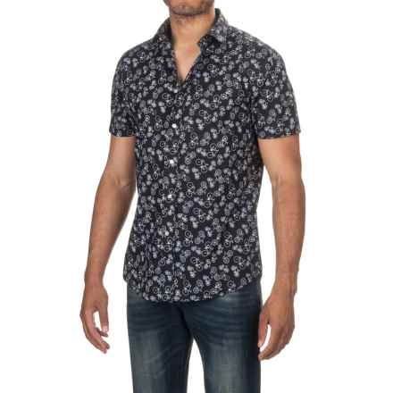 Slate & Stone Bates Shirt - Short Sleeve (For Men) in Black/White Bike Print - Closeouts