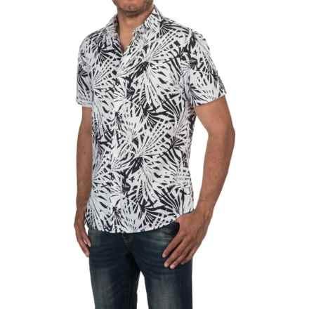 Slate & Stone Bates Shirt - Short Sleeve (For Men) in Black/White Palm Print - Closeouts