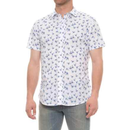 Slate & Stone Bates Shirt - Slim Fit, Short Sleeve (For Men) in White/Blue Palm - Closeouts