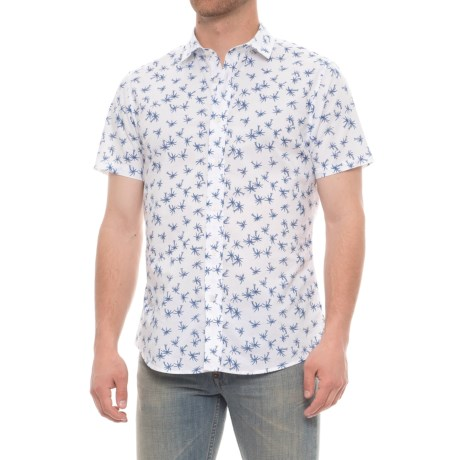 Slate & Stone Bates Shirt - Slim Fit, Short Sleeve (For Men) in White/Blue Palm