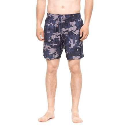 Slate & Stone Cabo Camo Printed Swim Trunks - Built-In Briefs (For Men) in Blue - Closeouts
