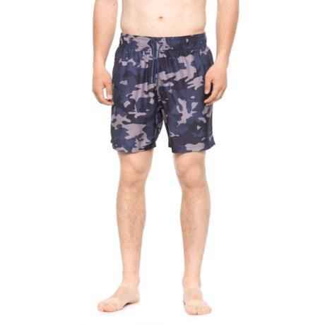 Slate & Stone Cabo Camo Printed Swim Trunks - Built-In Briefs (For Men) in Blue