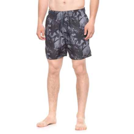 Slate & Stone Cabo Palm Tree Printed Swim Trunks - Built-In Brief (For Men) in Black - Closeouts
