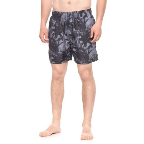 Slate & Stone Cabo Palm Tree Printed Swim Trunks - Built-In Brief (For Men) in Black