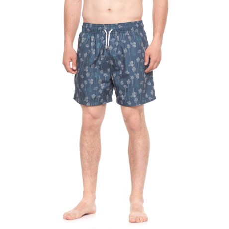 Slate & Stone Cabo Wallpaper Printed Swim Trunks (For Men) in Blue