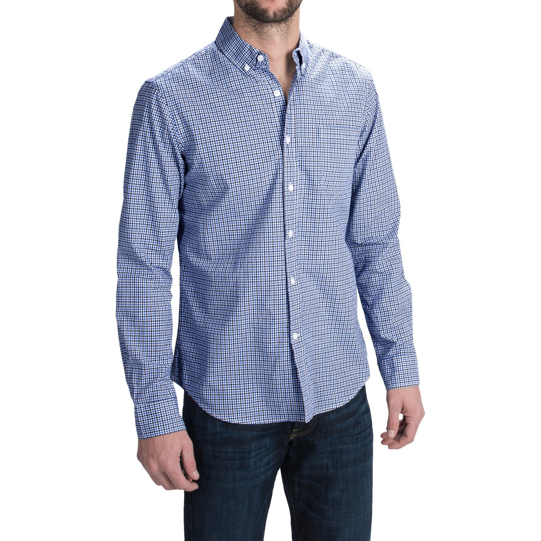 Slate stone cotton poplin shirt for men save 76 for Long sleeve poplin shirt