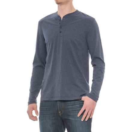Slate & Stone Dean Henley Shirt - Supima® Cotton, Long Sleeve (For Men) in Heather Blue - Closeouts