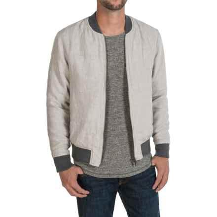 Slate & Stone Derek Linen Bomber Jacket (For Men) in Light Grey - Closeouts