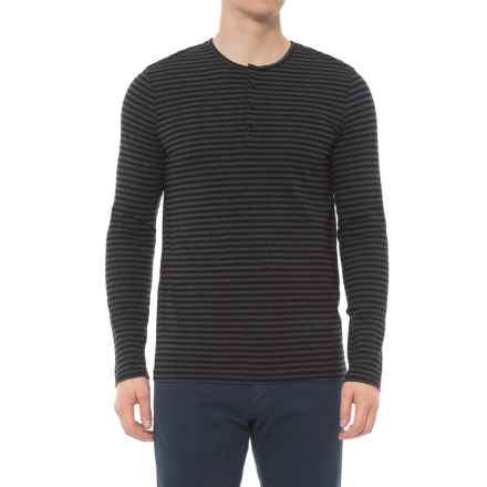 Slate & Stone Elliott Henley Shirt - Long Sleeve (For Men) in Black/Charcoal Stripe - Overstock