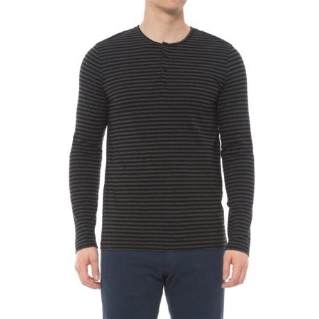 Slate & Stone Elliott Henley Shirt - Long Sleeve (For Men) in Black/Charcoal Stripe