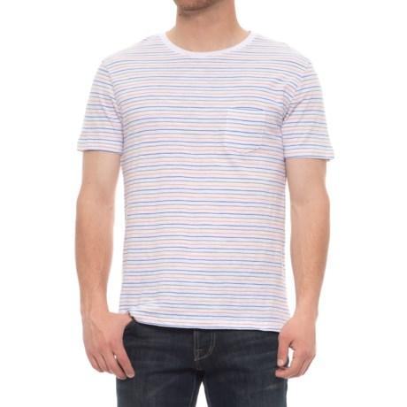 Slate & Stone Ethan Pocket T-Shirt -Short Sleeve (For Men) in Multi Yarn Dye Stripe