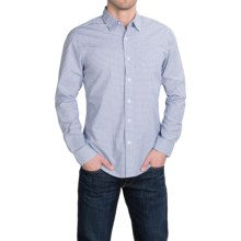 Slate & Stone Poplin Check Shirt - Long Sleeve in Navy/White - Closeouts