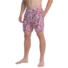 Slate & Stone Printed Cabo Swim Shorts (For Men) in Red Blue Floran - Closeouts