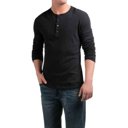 Slate & Stone Riley Henley Shirt - Cotton-Cashmere, Long Sleeve (For Men) in Black - Closeouts