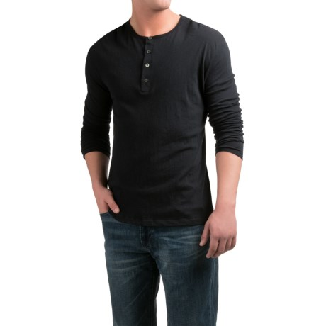 Slate & Stone Riley Henley Shirt - Cotton-Cashmere, Long Sleeve (For Men) in Black