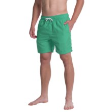 Slate & Stone Solid Cabo Swim Shorts (For Men) in Green - Closeouts