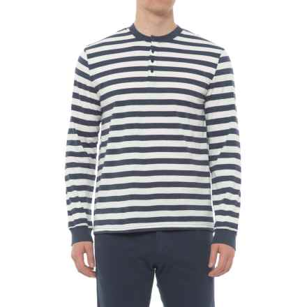 Slate & Stone Striped Henley Shirt - Long Sleeve (For Men) in Blue/Off White - Overstock