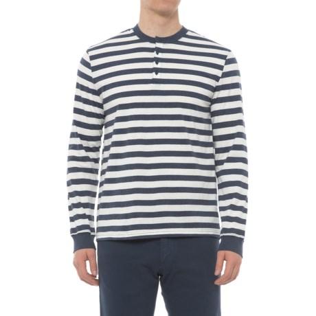 Slate & Stone Striped Henley Shirt - Long Sleeve (For Men) in Blue/Off White