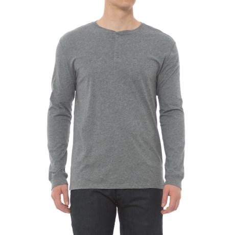 Slate & Stone Supima® Henley Shirt - Long Sleeve (For Men) in Light Grey