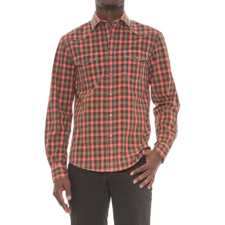Slate Denim & Co. Cash Checkered Plaid Shirt - Snap Front, Long Sleeve (For Men) in Melon
