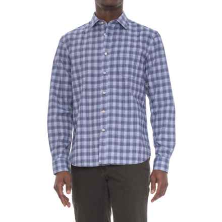 Slate Denim & Co. Dylan Distressed Plaid Shirt - Long Sleeve (For Men) in Navy - Overstock