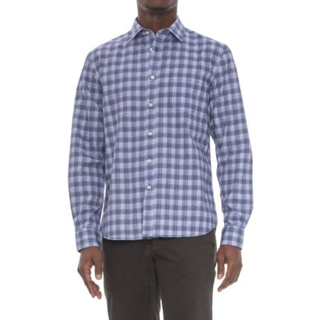 Slate Denim & Co. Dylan Distressed Plaid Shirt - Long Sleeve (For Men) in Navy
