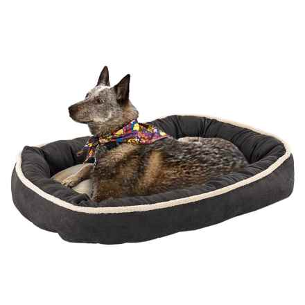 """Sleep Zone Faux-Shearling Oval Cuddler Dog Bed - 31x24"""" in Black - Closeouts"""