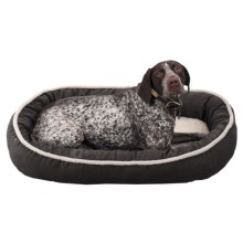 "Sleep Zone Faux-Shearling Oval Cuddler Dog Bed - 35x27"" in Chocolate - Closeouts"