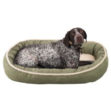 "Sleep Zone Faux-Shearling Oval Cuddler Dog Bed - 35x27"" in Sage - Closeouts"
