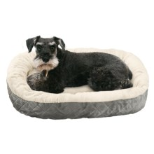 "Sleep Zone Quilted Oval Cuddler Dog Bed - 26x22"" in Light Gray - Closeouts"