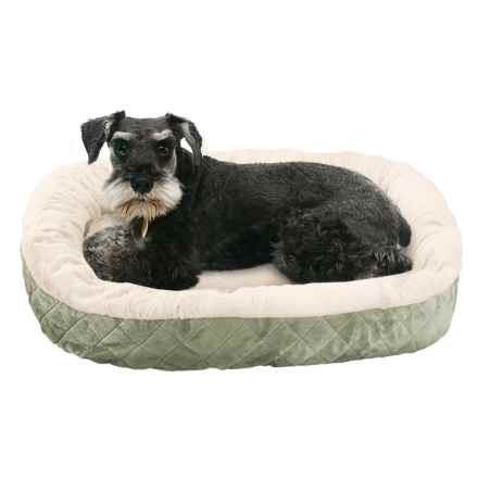 """Sleep Zone Quilted Oval Cuddler Dog Bed - 26x22"""" in Sage - Closeouts"""