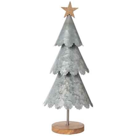 """Sleigh Hill Trading Co Decorative Galvanized Cone Tree - 20"""" in Silver - Closeouts"""