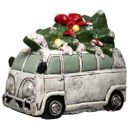"""Sleigh Hill Trading Co Decorative LED Vintage Bus with Tree - 16.5x8.9x14.2"""" in Grey - Closeouts"""