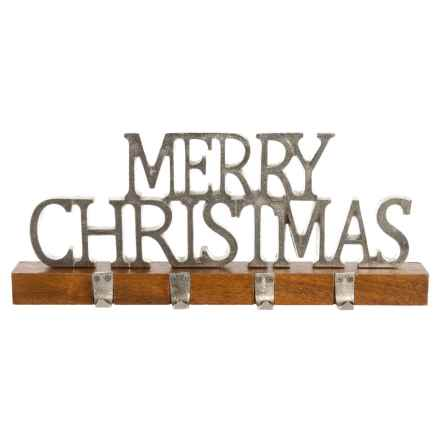 """Sleigh Hill Trading Co Merry Christmas Stocking Holder - 19x6"""" in Silver/Natural - Closeouts"""