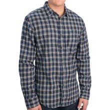 Slim Fit Flannel Shirt - Long Sleeve (For Men) in Navy Plaid Mini - 2nds