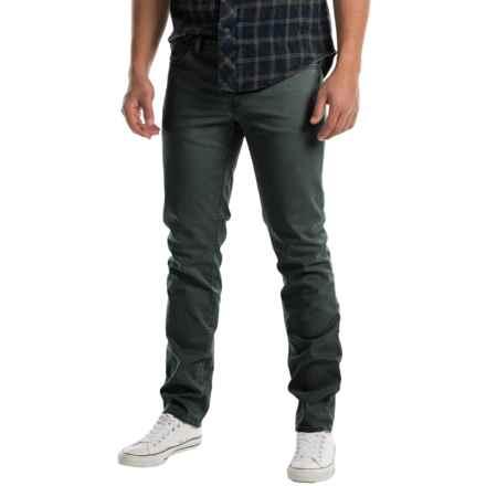 Slim Fit Flat-Front Pants - 5-Pocket (For Men) in Black - 2nds