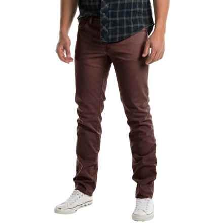 Slim Fit Flat-Front Pants - 5-Pocket (For Men) in Brown - 2nds