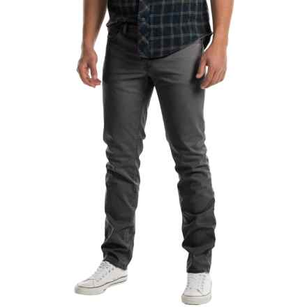 Slim Fit Flat-Front Pants - 5-Pocket (For Men) in Charcoal - 2nds