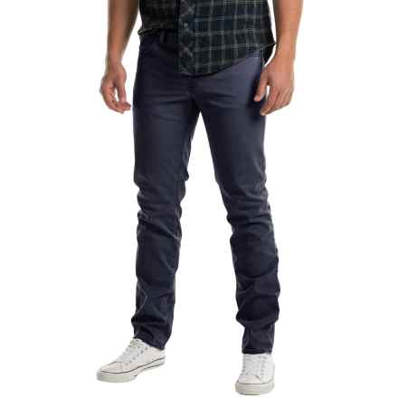 Slim Fit Flat-Front Pants - 5-Pocket (For Men) in Navy - 2nds