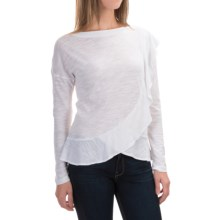 Slub-Knit Boat Neck Shirt - Long Sleeve (For Women) in White Burnout - 2nds