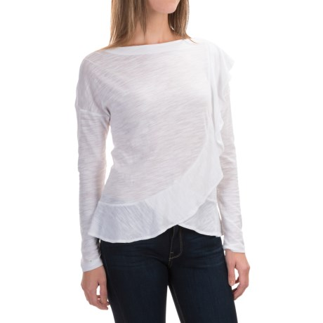 Slub-Knit Boat Neck Shirt - Long Sleeve (For Women)