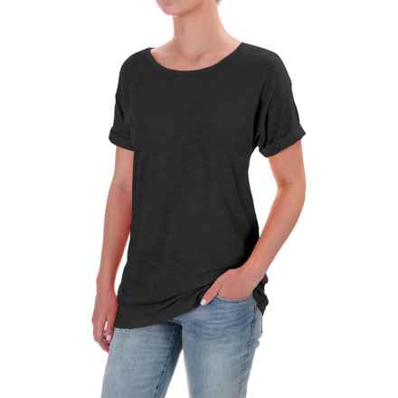 Slub Knit Cuffed Sleeve Shirt - Cotton-Modal, Short Sleeve (For Women) in Black - 2nds