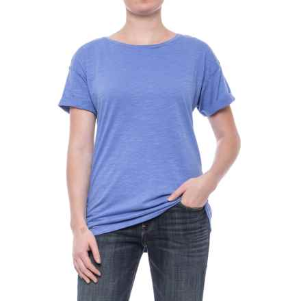 Slub Knit Cuffed Sleeve Shirt - Cotton-Modal, Short Sleeve (For Women) in Blue - 2nds